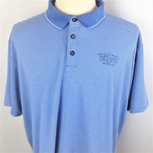 Walt Disney Parks Mens Blue Striped Polo XXL